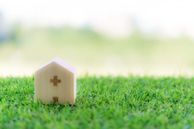 芝生の上に病院
