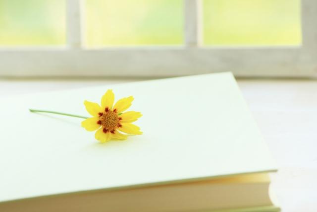 白い本と黄色いお花