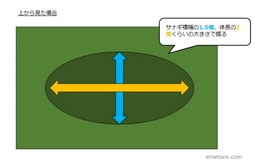 楕円形のサイズ