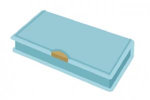 小学生用の青い箱型筆箱